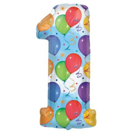 Шар (40''/102 см) Цифра, 1, Дизайн-шарики
