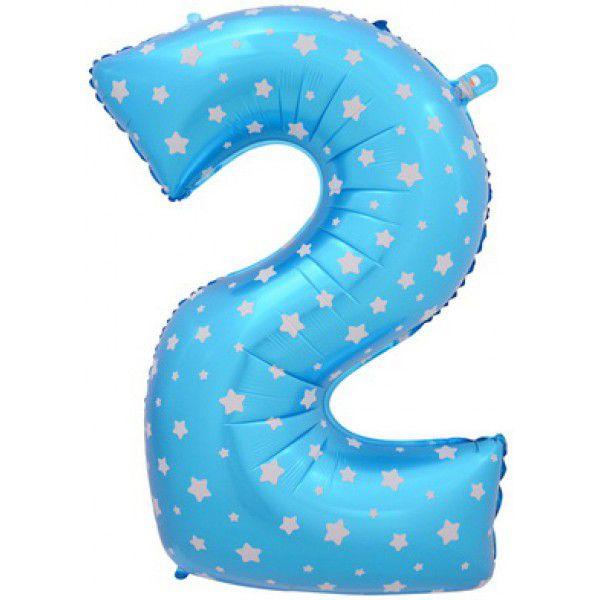 Шар (40''/102 см) Цифра, 2, Голубые звездочки