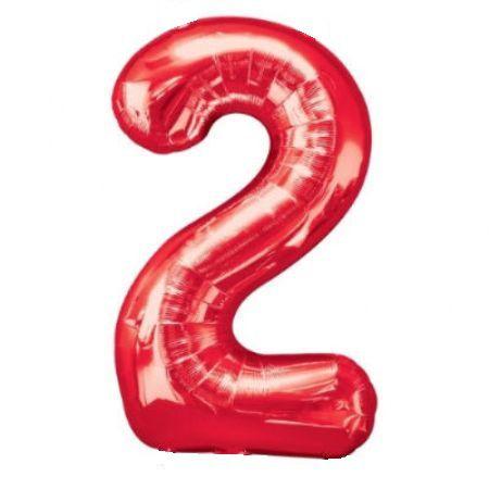 Шар (40''/102 см) Цифра, 2, Красный