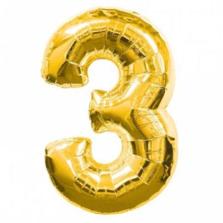 Шар (40''/102 см) Цифра, 3, Золото