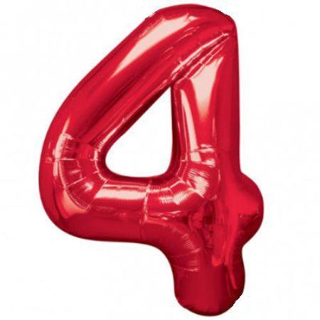 Шар (40''/102 см) Цифра, 4, Красный