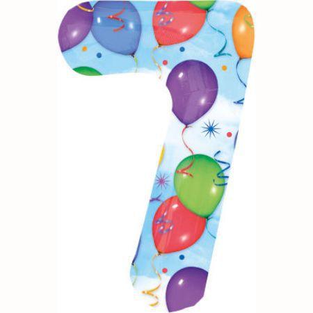 Шар (40''/102 см) Цифра, 7, Дизайн-шарики