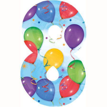 Шар (40''/102 см) Цифра, 8, Дизайн-шарики