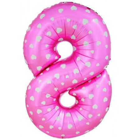 Шар (40''/102 см) Цифра, 8, Розовые сердечки