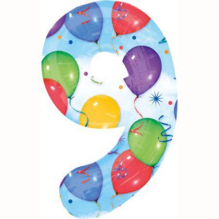 Шар (40''/102 см) Цифра, 9, Дизайн-шарики
