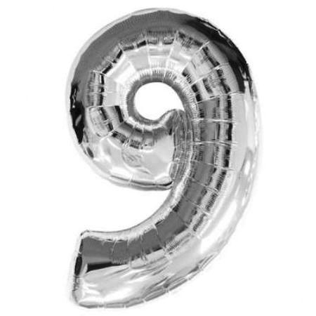 Шар (40''/102 см) Цифра, 9, Серебро.