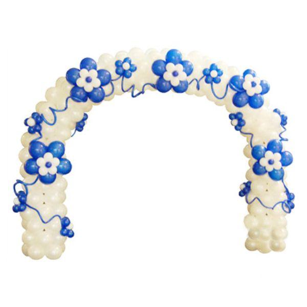 Арка из шаров голубые цветы