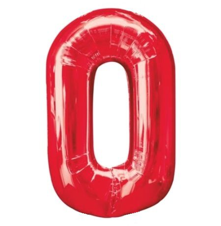 Шар (40''/102 см) Цифра, 0, Красный