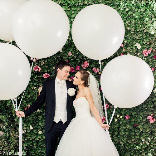 Белые шары на свадьбу. http://onballoon.ru