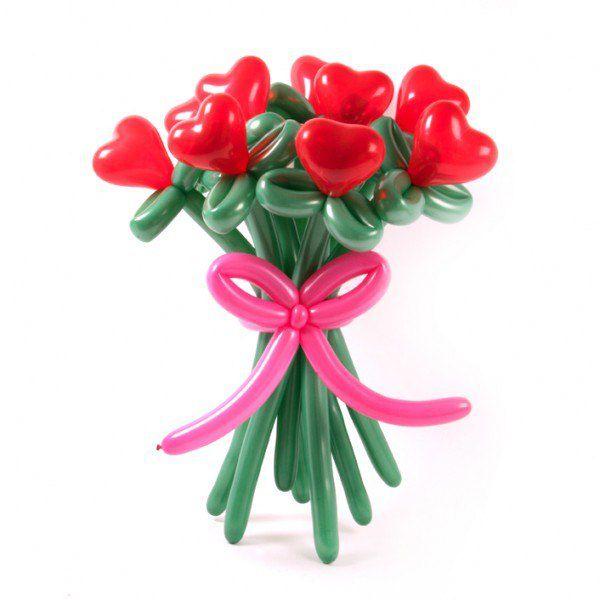 Букет цветов из красных сердец