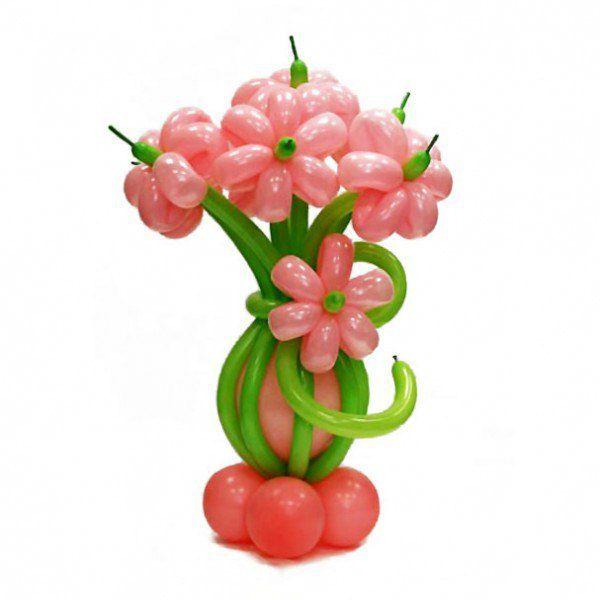 Букет розовых ромашек из шаров