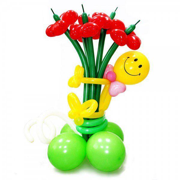 Букет цветов «Веселый смайлик»