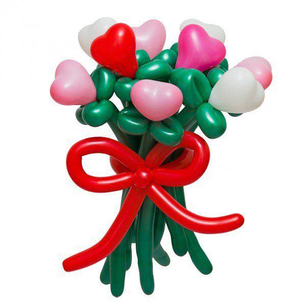 Букет цветов из цветных сердец