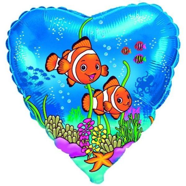 Шар (46 см) Сердце, Друзья рыбы-клоуны, Синий