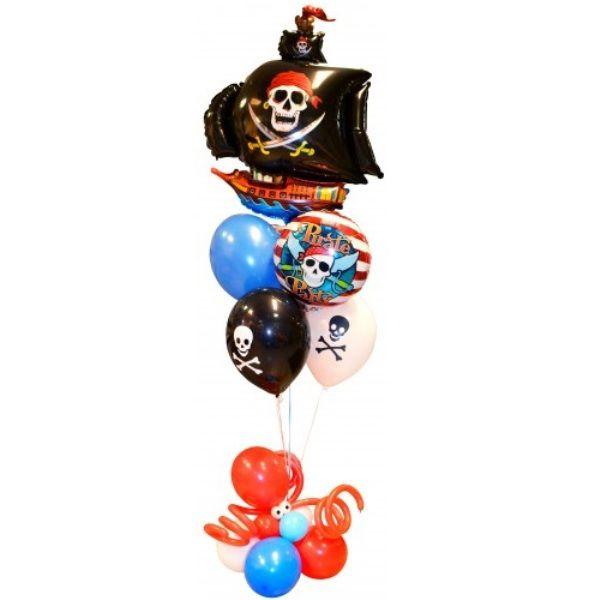 Букет из шаров «Черный пиратский корабль»