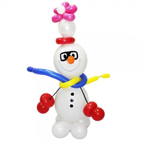 Фигура из шаров «Снеговик в шарфе»