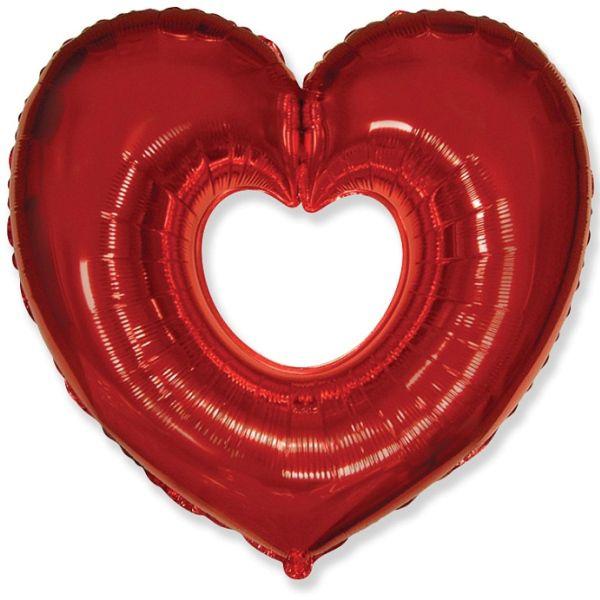 Шар (102 см) Фигура, Сердце в сердце, Красный.
