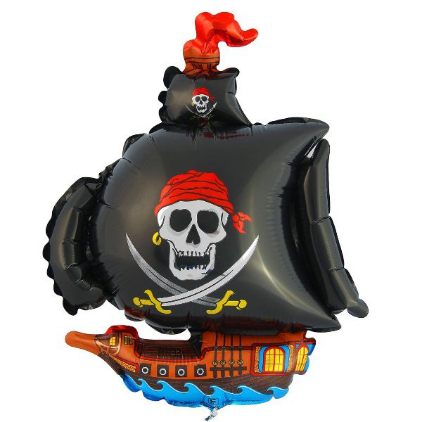 Шар (104 см) Фигура, Пиратский корабль, Черный.