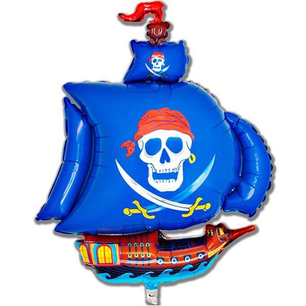 Шар (104 см) Фигура, Пиратский корабль, Синий.