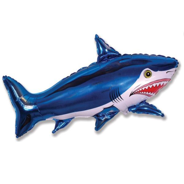 Шар (107 см) Фигура, Страшная акула, Синий.