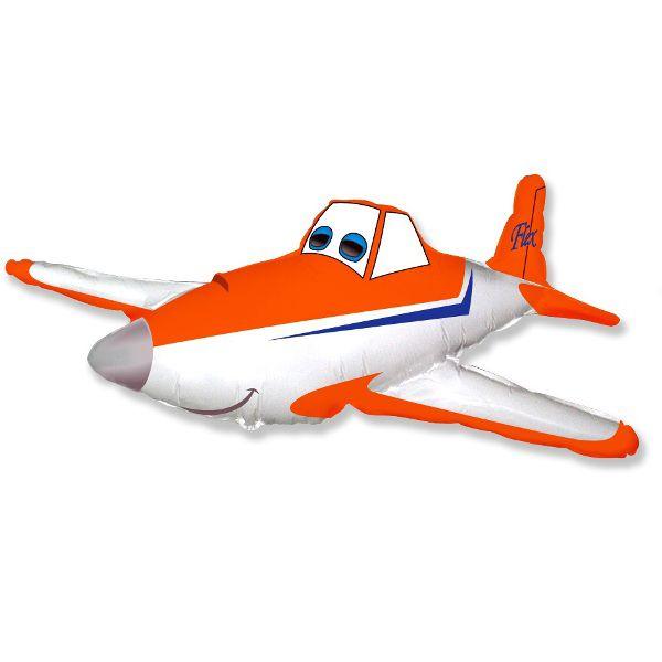 Шар (112 см) Фигура, Гоночный самолет, Оранжевый.