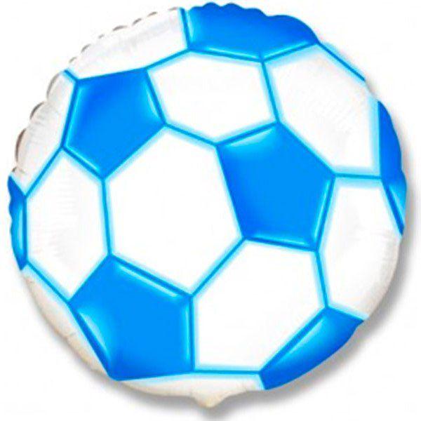 Шар (46 см) Круг, Футбольный мяч, Синий.