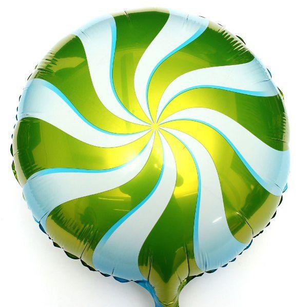 Шар (46 см) Круг, Леденец, Зеленый.