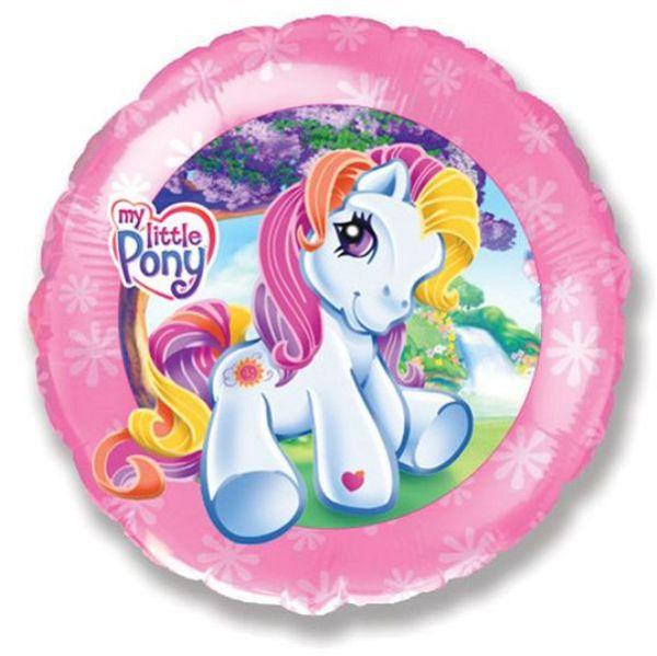 Шар (46 см) Круг, Моя маленькая пони, Розовый.