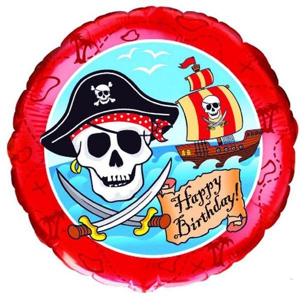 Шар (46 см) Круг, С Днем рождения (пират) , Красный.