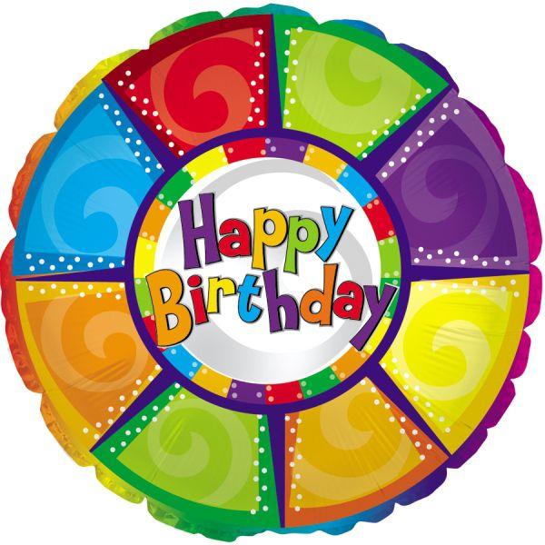 Шар (46 см) Круг, С Днем рождения (разноцветный).