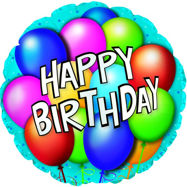Шар (46 см) Круг, С Днем рождения (воздушные шарики), Синий.