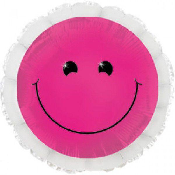 Шар (46 см) Круг, Смайл неон, Розовый.
