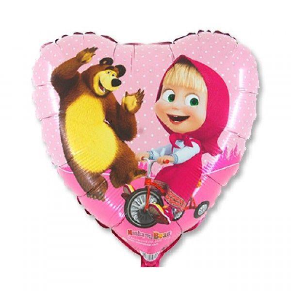 Шар (46 см) Сердце, Маша и Медведь.