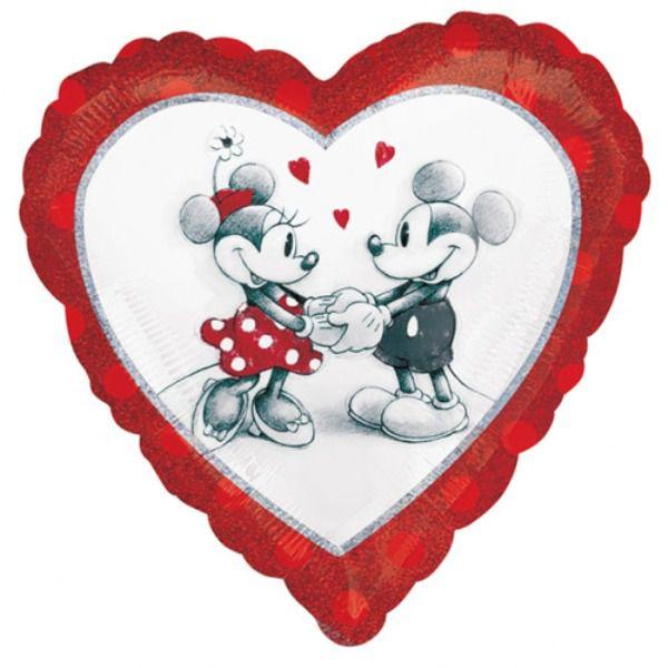 Шар (46 см) Сердце, Микки и Минни влюбленные голография.