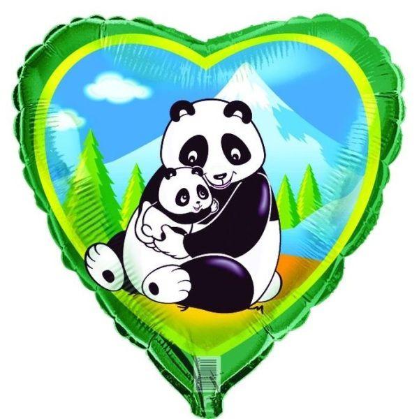 Шар (46 см) Сердце, Панды.