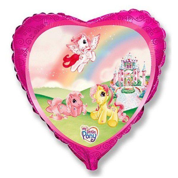 Шар (46 см) Сердце, Пони на радуге.