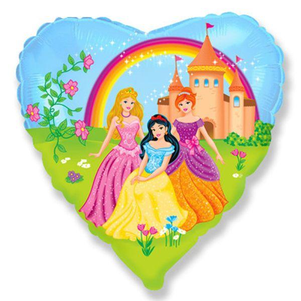 Шар (46 см) Сердце, Принцессы на прогулке.