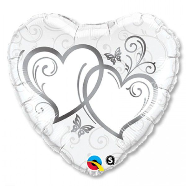 Шар (46 см) Сердце, Сердца переплетенные Silver.