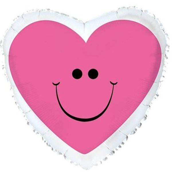 Шар (46 см) Сердце, Сердце с улыбкой, Розовый.