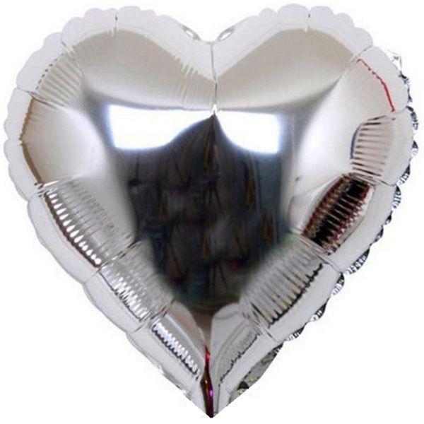 Шар (46 см) Сердце, Серебро