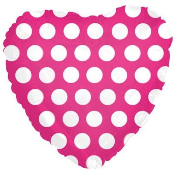 Шар (46 см) Сердце, В белый горошек, Розовый.