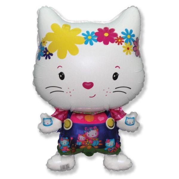 Шар (74 см) Фигура, Маленький дружелюбный котенок, Белый.