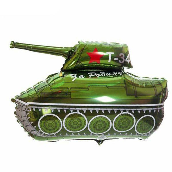 Шар (79 см) Фигура, Танк T-34, Зеленый.