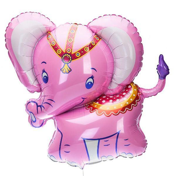 Шар (86 см) Фигура, Слоненок, Розовый.
