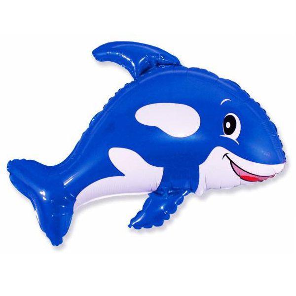 Шар (89 см) Фигура, Веселый кит, Фиолетовый.