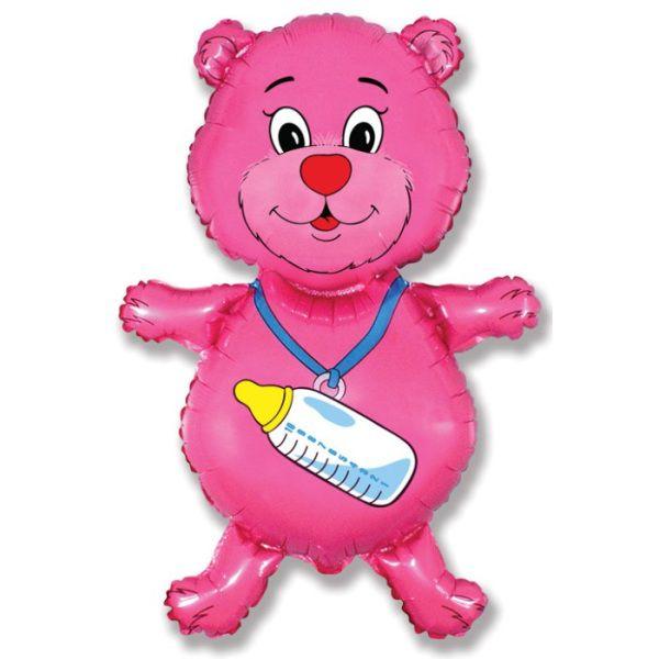 Шар (94 см) Фигура, Медвежонок-девочка, Розовый.