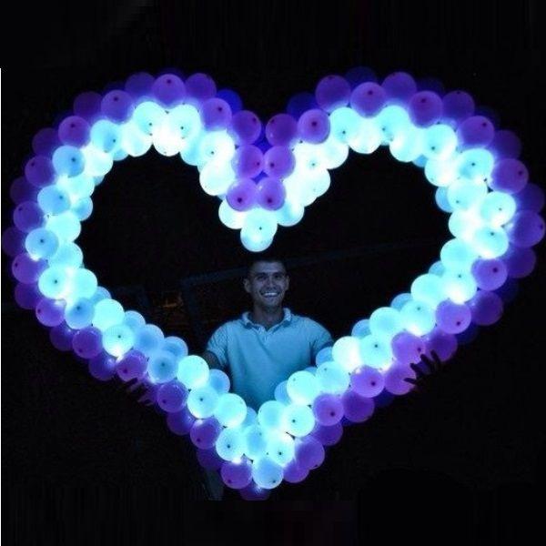 Сердце плетеное из шаров с подсветкой, 1 шт. с воздухом.