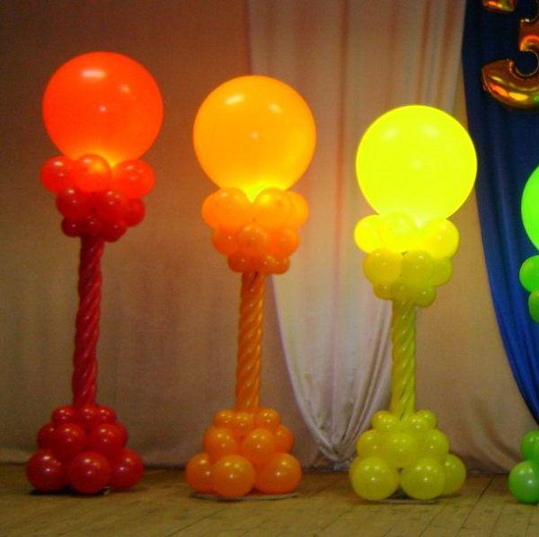 Столбик из шаров с подсветкой, 1 шт. с воздухом.