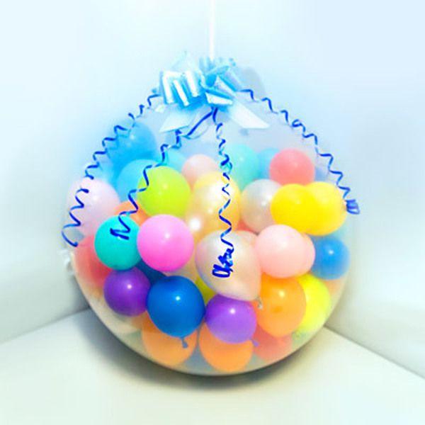Шар сюрприз с бантиком прозрачный. Компания onballoon.ru