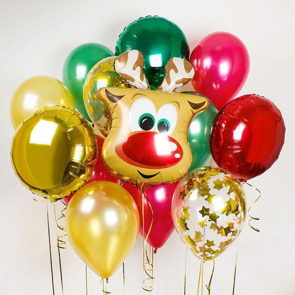 Новогодний букет из шаров с оленем http://onballoon.ru